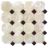 3x3 White Onyx Polished Octagon Pattern 3/4 Red Dot Mosaic Tile