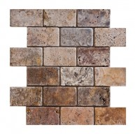 2 in. x 4 in. Scabos Tumbled Mesh-Mounted Travertine Mosaic Tile