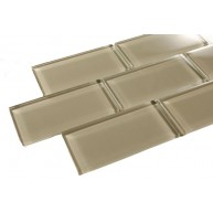 Silver Spring 3 in. x 6 in. Light Brown Glass Mosaic Tile