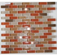 Red Eye 5/8x1 7/8 Stainless Steel Metal & Glass Mosaic Tile