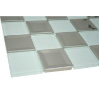 Silver Stainless Steel 2 in. x 2 in. Square Glass Mosaic  Tiles