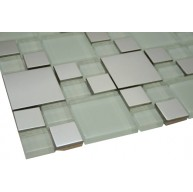Silver Stainless Steel Metal 12x12 White Glass Mosaic Tiles