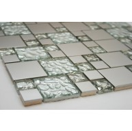 Silver Stainless Steel & White Glass Metal Tile