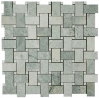 Ming Green Marble Polished Basketweave With White Dot