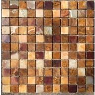 1x1 Multi Colored Onyx Polished Mosaic Tiles