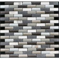 Manhattan Grey Brick Glass and Stone Mosaic Tile