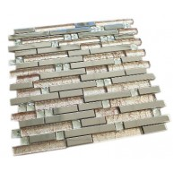 Newport Bashful Brown 12x12 Stainless Steel & Glass Mosaic Tile