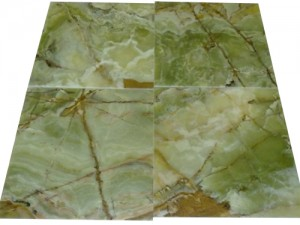18 in. x 18 in. Dark Green Polished Onyx Floor & Wall Tiles