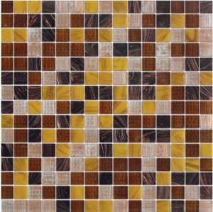 Elixir Jazzy Yellow Blend 3/4 in. x 3/4 in. Mesh-Mounted Glass Mosaic Tile
