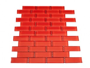Elixir Ruby Red Brick 1 in. x 3 in. Glass Mosaic Tile