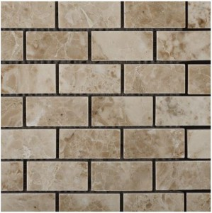 Cappuccino Marble Polished 2 X 4 Mosaic Tile on Mesh