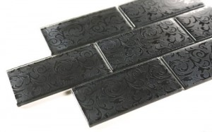 Broadway 3 in. x 6 in. Black Deco Glass Tile
