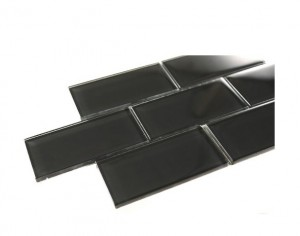 Black 3 in. x 6 in. Brick Glass Mosaic Tile