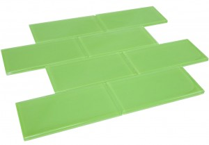 Fresh Green 3 in. x 6 in.Glass Mosaic Tile