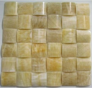 Pillow 3-Dimensional Honey Onyx Polished 2x2 Meshed on 12x12 Tile