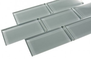 Broadway Ice Mist Glossy 3 in.x 6 in. Blue Grey Glass Tile