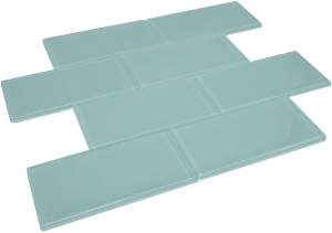 Broadway 3 in. x 6 in.Soft Blue Glass Mosaic Tile