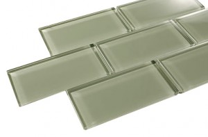 Ocean Spray 3 in.x 6 in. Sea Green Glass Tile
