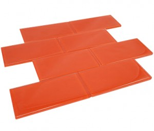 Fire Orange 3 in. x 6 in.Glass Mosaic Tile