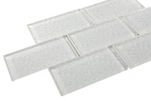 White Deco 3 in. x 6 in. Glass Mosaic Tile