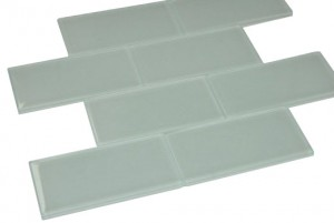 Broadway  3 in. x 6 in. Soft White Glass Mosaic Tile