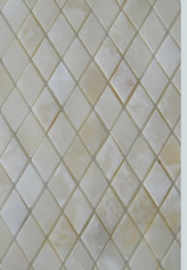 White Onyx Diamond Polished Mesh Mosaic Tiles