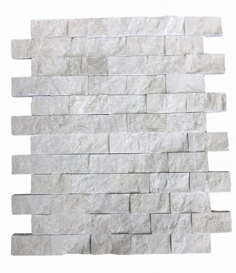 1 x 2 Botticino Beige Split Face Brick Pattern Mesh-Mounted Marble Mosaic Tile