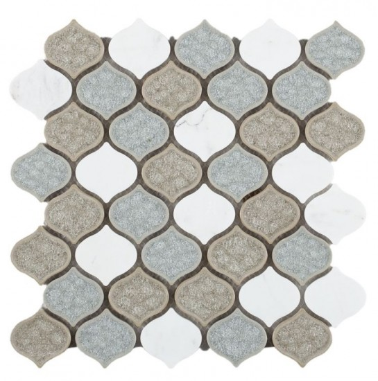 2x2 Arabesque White Carrara Marble & Grey and Blue Crackle Glass Waterjet Mosaic Tile