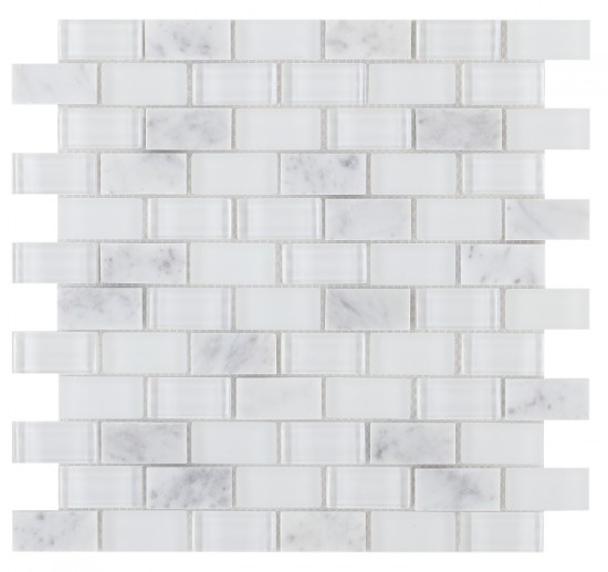 1x2 Brick Pattern White Carrara Marble Mixed with Super White Glass Mosaic Tile