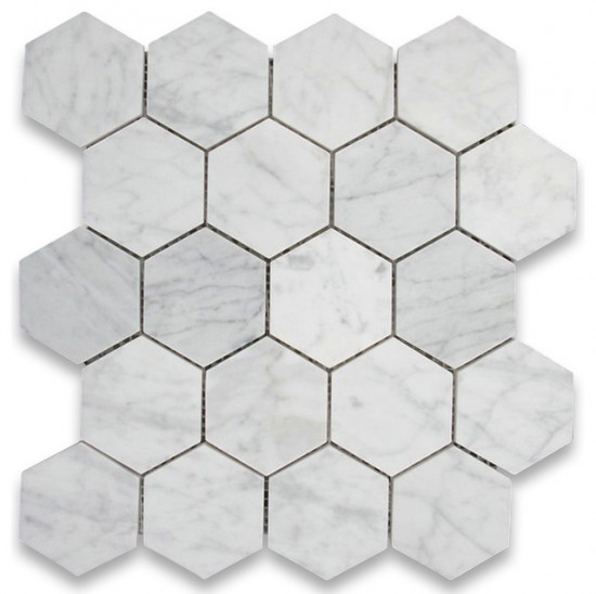 "Italian White Carrara 3"" Hexagon Polished Mosaic Tile for Bathroom, Kitchen and Floor."