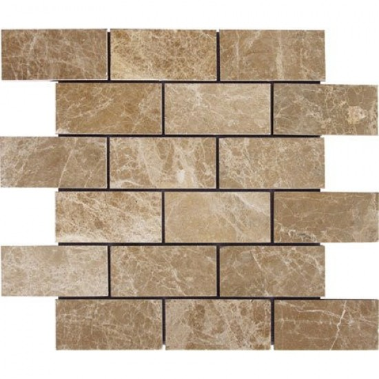 Emperador Light 2x4 Polished Marble Mosaic 12x12