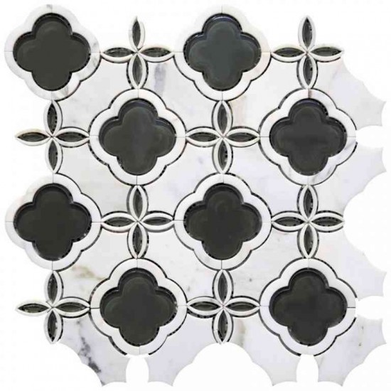 Calacatta White Marble Waterjet Glass Mosaic Tile