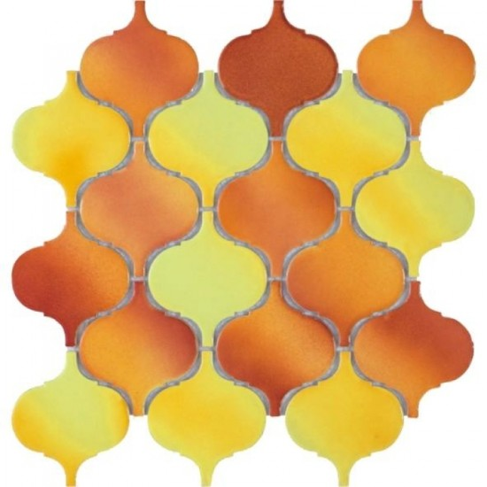 Arabesque Orange Porcelain Mosaic Tile | Pool Rated Tile | Shower | Swimming Pools | Pool Liners | Exterior Wall