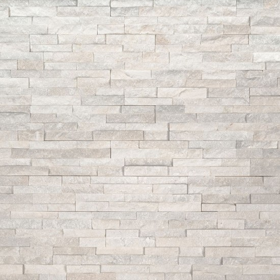 Arctic White Mini Ledger Panel Marble Wall Tile | Wall | Backsplash | Accent Wall | Fireplace Surrounding | Garage | Kitchen | Shower | Bathroom