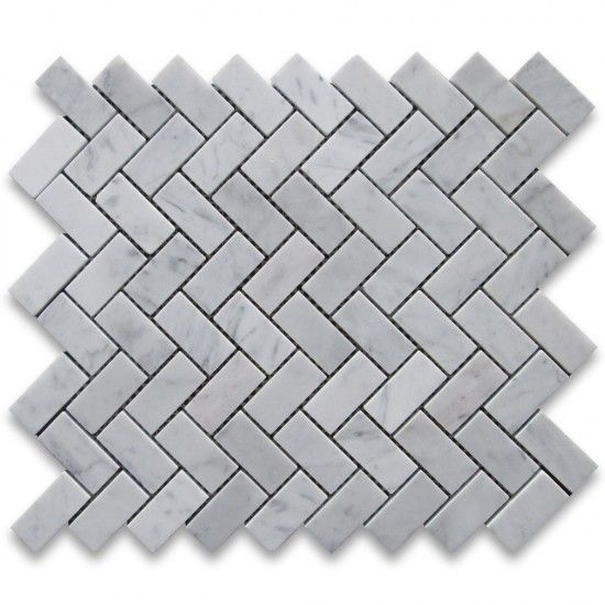 Italian White Carrara Marble 1x2 Herringbone Pattern Honed