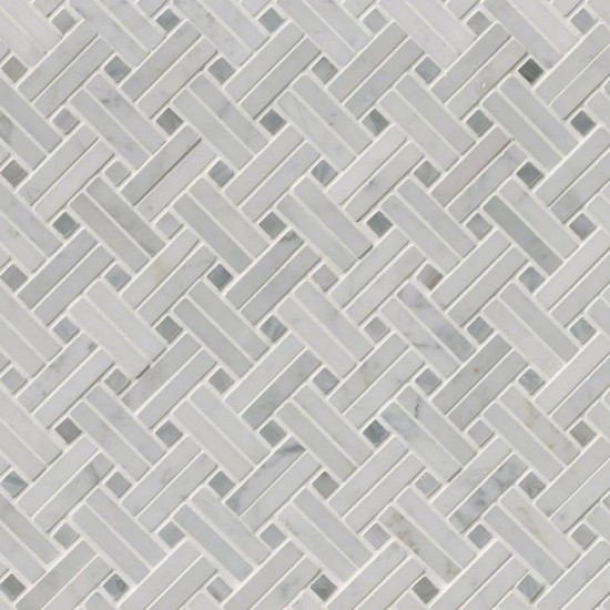 Carrara White Basketweave Polished Marble Mosaic Tile | Wall | Floor | Backsplash | Accent Wall | Bathroom | Kitchen | Shower | Fireplace | Countertop