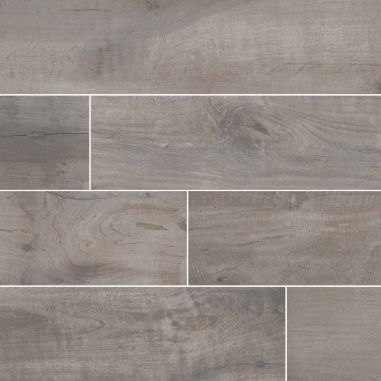 Country River Stone Grey Matte 8 in. x 48 in. Glazed Porcelain Floor and Wall Tile | Backsplash | Bathroom | Kitchen | Shower | Fireplace | Countertop