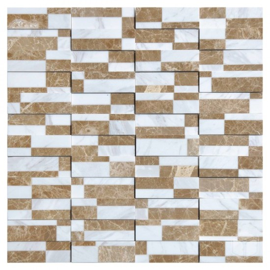 Domino White Brick Pattern Glass and Marble Mosaic Tile