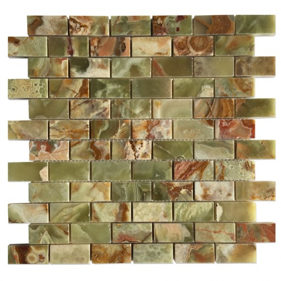 1 in. x 2 in. Dark Green Onyx Brick Pattern Mosaic Polished Mesh-Mounted Tiles