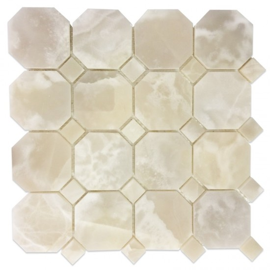 White Onyx Polished Octagon Mosaic Tile for Accent Wall, Backsplash and Flooring