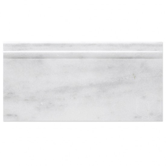 5x12 Milas White Marble Polished Baseboard  Molding
