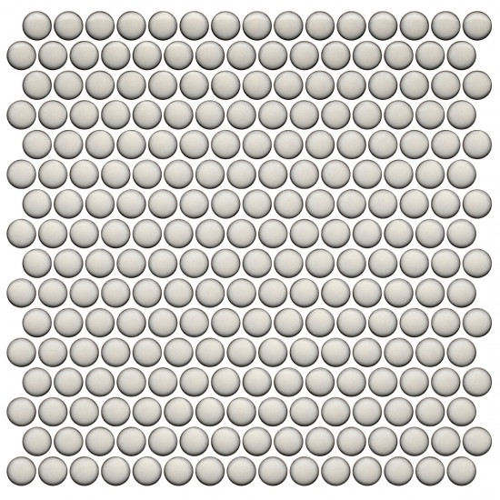 Pearl White Mesh Mounted Penny Round Tile by Roca Tile USA