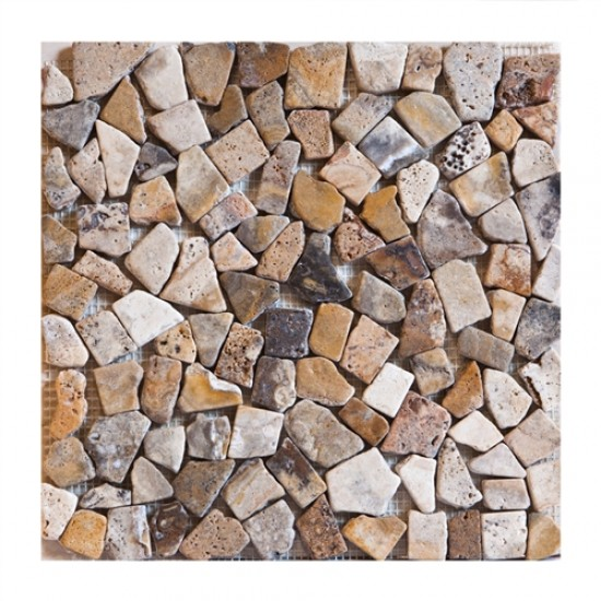 River Rock Scabos Tumbled Travertine Mosaic Tile