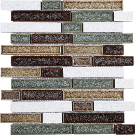 "11-3/4"" x 11 -3/4"" Multicolor Random Brick Glass & Ceramic Mesh Mounted Mosaic Tile"