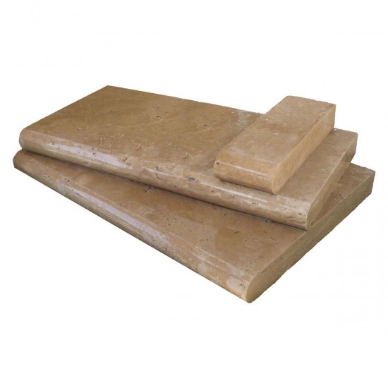 "Tuscany Chocolade 16 in. x 24 in. x 2"" or 5 cm Brushed Travertine Coping for Pool, Patio, Treads (Each Piece.: 2.67 Sqft.)"