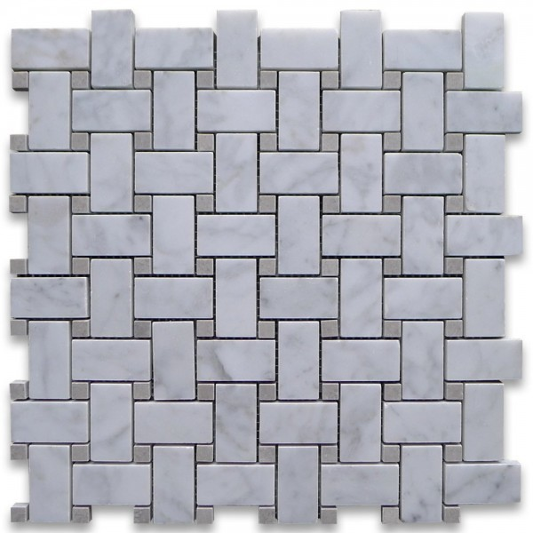 Italian White Carrara Marble 1 X 2 Basketweave With Grey Dots Honed Mosaic Tile