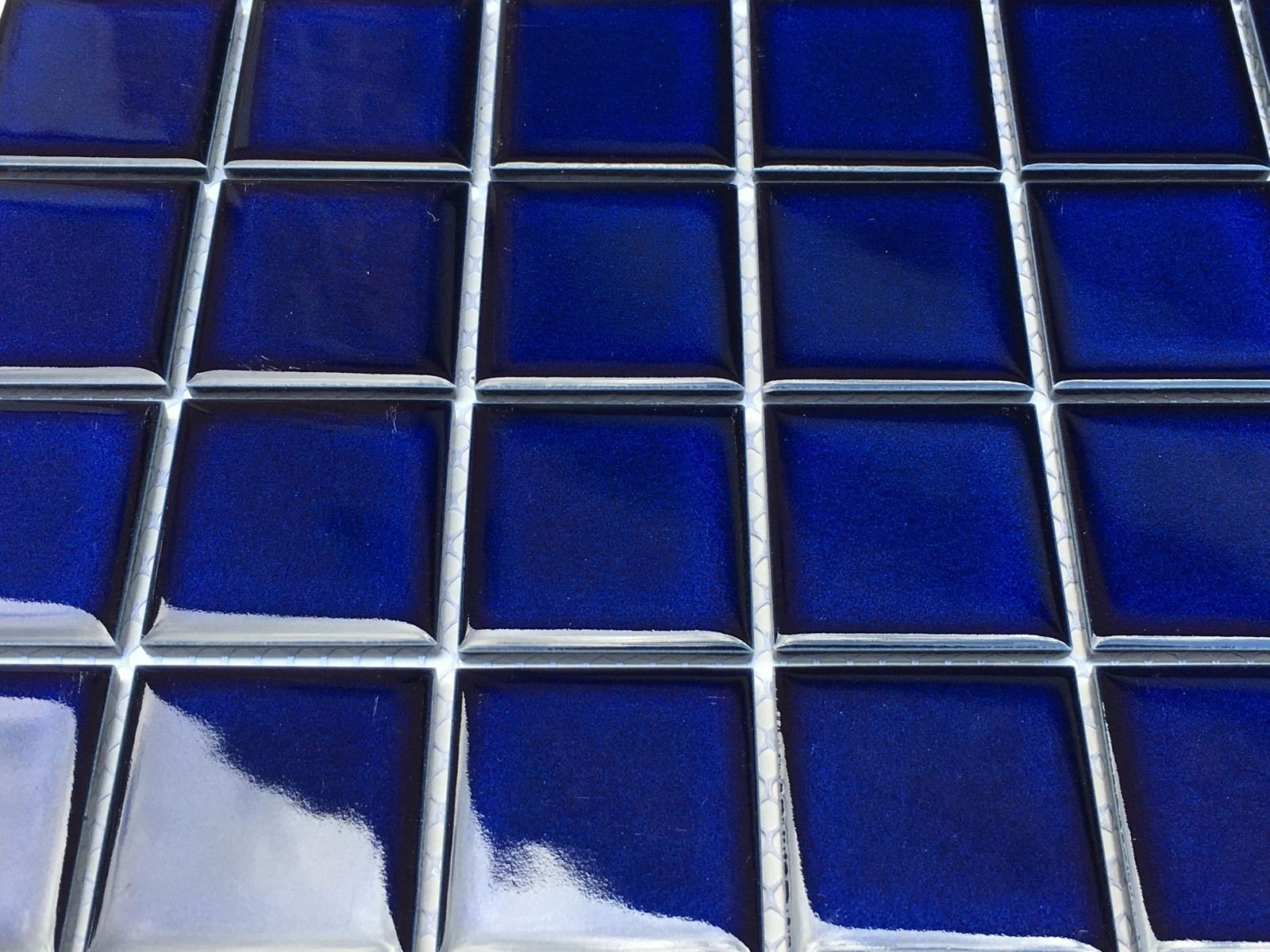 2x2 Cobalt Blue Shiny Porcelain Mosaic Tile For Pools Walls Floor And Backsplash