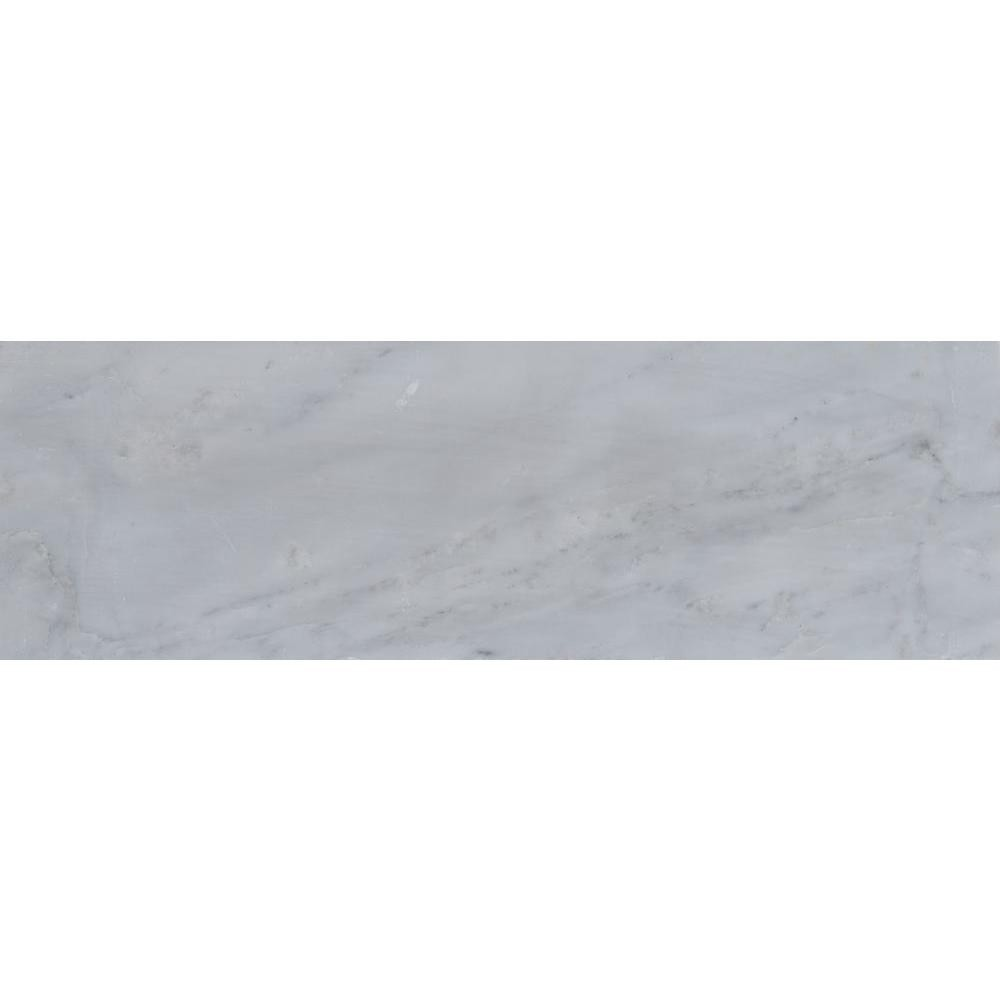 "Arabescato White Carrara 4"" x 12"" Subway Honed Marble Tile"