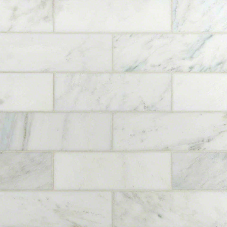 Italian white carrara 4 x 12 subway polished marble tile Italian marble backsplash
