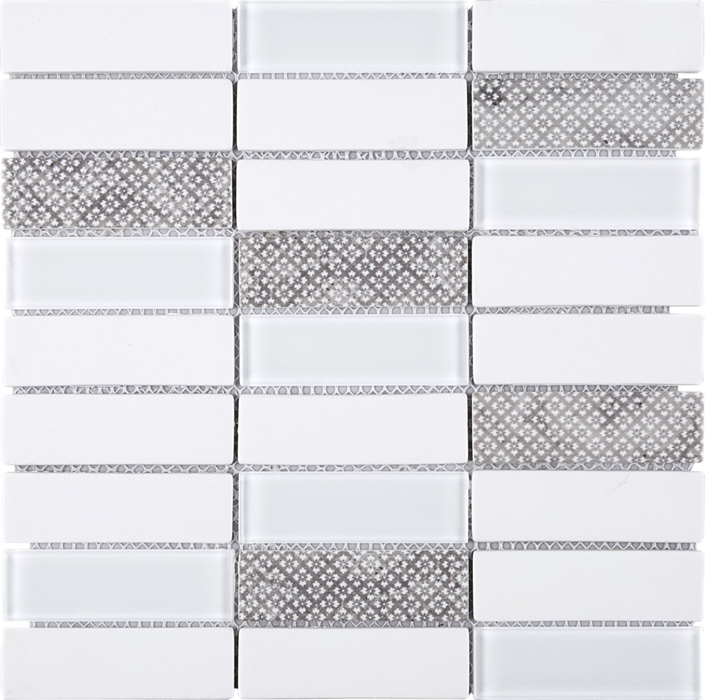 Egypt White & Wall Paper Recycle Glass Mesh Mounted Mosaic Tile ...